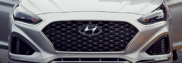 The grill of a 2018 Hyundai Sonata featured in a blog post about used Hyundai models