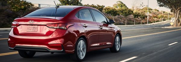 2019 Hyundai Accent driving down highway